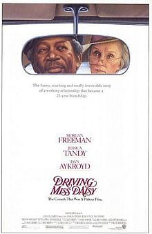 Driving Miss Daisy is a 1989 American comedy-drama film adapted from the Alfred Uhry play of the same name. The film was directed by Bruce Beresford, with Morgan Freeman reprising his role as Hoke Colburn and Jessica Tandy playing Miss Daisy. The story defines Daisy and her point of view through a network of relationships and emotions by focusing on her home life, synagogue, friends, family, fears, and concerns over a 25 year period. Driving Miss Daisy won three Academy Awards.