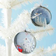 Ornament using recycled cards and canning jar lids