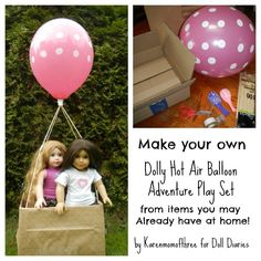 Easy way to make a doll sized hot air balloon play set inspired by American Girl Saige.