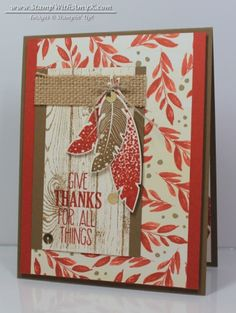 Give Thanks Card, Four Feathers 1 - Stamp With Amy K