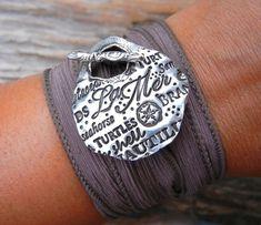 Ocean Jewelry Silk Wrap Bracelet Nautical Jewelry by HappyGoLicky, $49.00