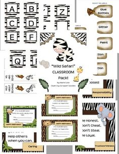 This packet is a great tool for someone who has a WILD, SAFARI, or Jungle themed room! 30 page pack!