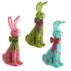 "RAZ Polka Dot Sitting BunnyRAZ Sitting Bunny      3 Assorted Colors      Made of Polyfoam, Paper     Measures 14"" X 8.5"" X 4.5""     RAZ Exclusive design from the Happy Easter Collection  Whimsical polka dot sitting bunny in assorted colors. #trendytree #easter"