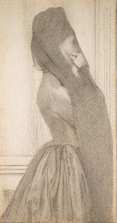 Fernand Khnopff, The Veil, 1887 european art, veils, artist, wonder draw, master draw, illustr, epoqu beauti, fernand khnopff