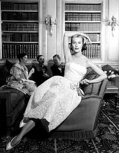Mary Jane Russell in a strapless evening dress, photo by Louise Dahl-Wolfe