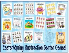 Fern Smith's Eight Easter / Spring Subtraction Center Games at TPT $4.00  75 Paged Easter / Spring Themed Subtraction Center Games!  ~Subtract Zero  ~Subtraction Doubles  ~Subtraction Doubles Plus One  ~Subtraction Doubles and Doubles Plus One Mixed  ~Subtraction Make Ten