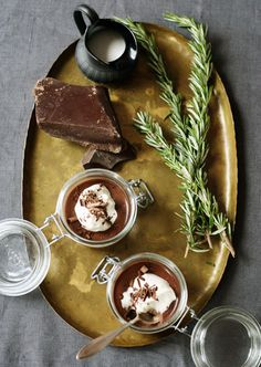 chocolate pot de creme with rosemary cream
