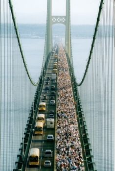 View from the tower overlooking Mackinaw Bridge Walk on Labor Day.