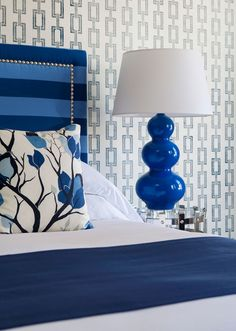 interior, headboard, color, cobalt blue, lamp, blue bedrooms, white bedrooms, hotel, guest rooms