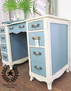 Shabby Beach Cottage Painted French Desk