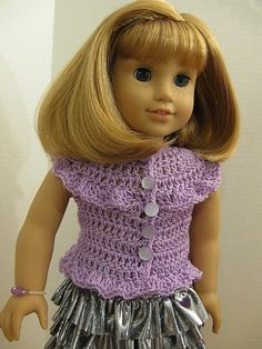 Ruffled Sleeveless Crocheted Sweater & Skirt for 18-inch Dolls -Free pattern