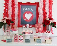 red, heart valentin, sweet tables, valentine day, parties, nest, party printables, parti printabl, valentines day party