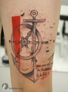 tattoo ideas, anchors, wheel, art, anchor tattoos, nautical tattoos, a tattoo, tattoo ink, design