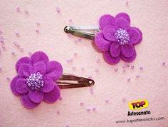 Como fazer flor de feltro - Enfeite de cabelo  http://topartesanato.com/flor-de-feltro/  #artesanato #feltro