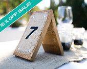 Wood & Burlap Rustic Country Wedding Table Numbers