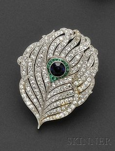 Art Deco Platinum Gem-set Brooch