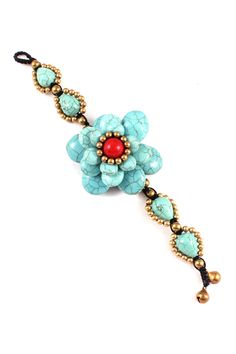 Turquoise and Coral Layered Bloom Bracelet