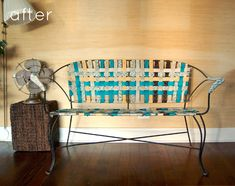 weaving a chair, furniture makeover, bench, craft idea, patio, old frames, wrought iron, diy furnitureflat, front porches