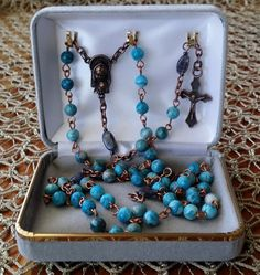 Crazy Lace Agate Copper Turquoise Rosary by MimisRosaries on Etsy