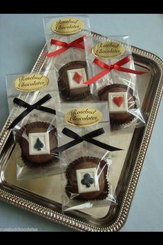 """Casino Night"" Milk Chocolate Dipped Cookies.... www.rosebudchocolates.com"