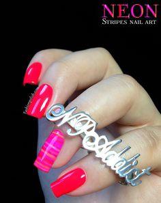 Fashion Polish: Neon Stripes Nail Art