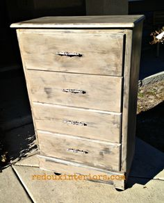 Curbside Free Dresser gets major makeover with CeCe Caldwells Vermont Slate, Seattle Mist and Martha Stewart's Gold Glaze.  Plus a surprising piece of trim and casters.   REDOUXINTERIORS.COM FACEBOOK: REDOUX