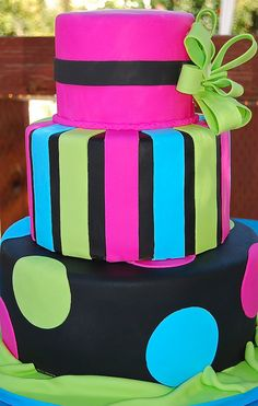 Black and Bright colors!! This is aleaias 16th bday cake!!