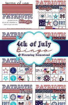 bloom homestead, patriot craft, red white, patriot 4th, 4th of july bingo
