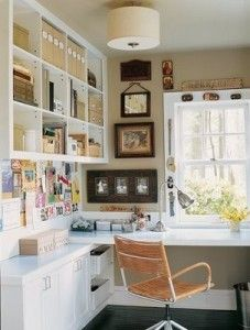 Like the white, corner desk and wall mounted shelving - a light touch