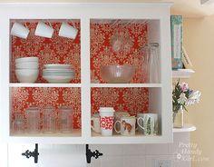 $20 kitchen update: fabric/foamboard - great idea