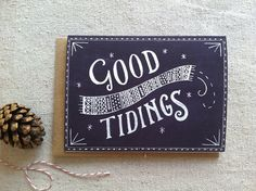 Good Tidings Christmas Card by @Jessica Dwelly Frost on Etsy #christmas #card #holidays #festive #illustration #typography #chalk