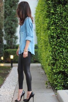 jean, fashion, style, outfit, denim shirts, pump, black heels, leather pants, leather leggings