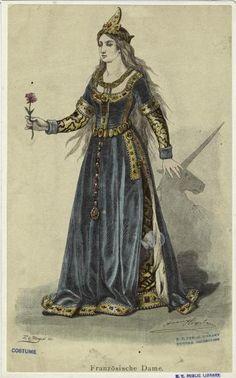 petticoatguru:    French Lady, 15th century.  Image details