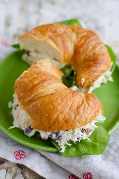 Chicken Salad Sandwiches with Cranberries and Mixed Nuts