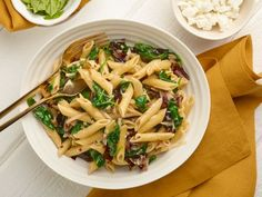 Try Giada's Easy, Cheesy Spring Pasta for dinner, featuring greens, garlic and goat cheese.  #RecipeOfTheDay