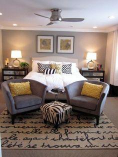 Grey and yellow bedroom. #home #decor | http://home-interior-clifton.blogspot.com
