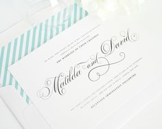 Wedding Invitations with Striped Envelope Liner in Aquamarine