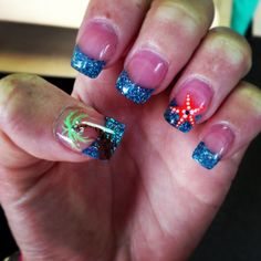 Starfish and palm tree nails #beach #nails sparkles