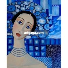 Here's a pretty #lady in #blue for all the #art lovers! Decorate your room with this beautiful #painting. Oil on canvas.