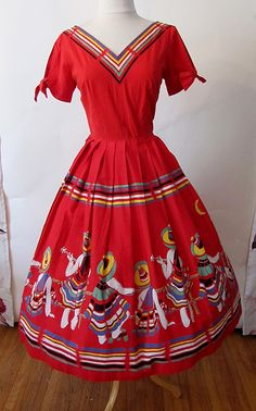 Mexican print dress   Amazing 1950's novelty print cotton dress with Mexican Images L