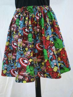 Superhero Full Skirt Made From Avengers Fabric - Captain America, Spiderman, Ironman, Wolverine, Hulk, Thor on Etsy, $35.00