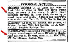 """A 1907 newspaper ad for missing husbands, published in the Dallas Morning News (Dallas, Texas), 12 September 1907. Read more on the GenealogyBank blog: """"Missing Men: Lost Husband Ads in Newspapers for Genealogy."""""""