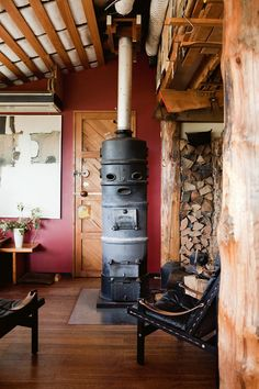 wood burning stoves, interior, fireplac, dream homes, wood storage, log cabins, rustic cabins, wood stoves, cob houses