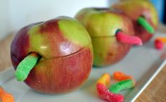 Wormy apples! (filled with peanut butter)