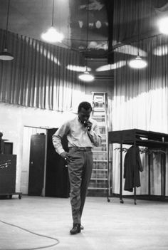 """Miles Davis. Photo taken during the recording of """"Kind of Blue,"""" 1959."""