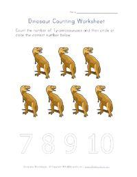 worksheet, number, dinosaur theme, kid