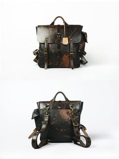 Leather backpack for Men Black  Leather with touch of Brown Backpack Large Backpack on Etsy, $375.00
