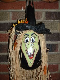 gourd witch   Halloween Witch Gourd Hand Painted by FromGramsHouse on Etsy