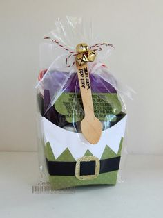 Hot Chocolate Gift set featuring SVG Cutting Files~Elf Fry Box, Jaded Blossoms~Hot Cocoa Stamp set and mini wooden spoon and Candy Cane twine from Trendy Twine