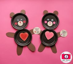 """""""I love you beary much"""" valentine's plates.  A cute way to serve a treat to the kids."""